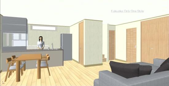 20畳LDKプラン3Dパース©八重洲技建
