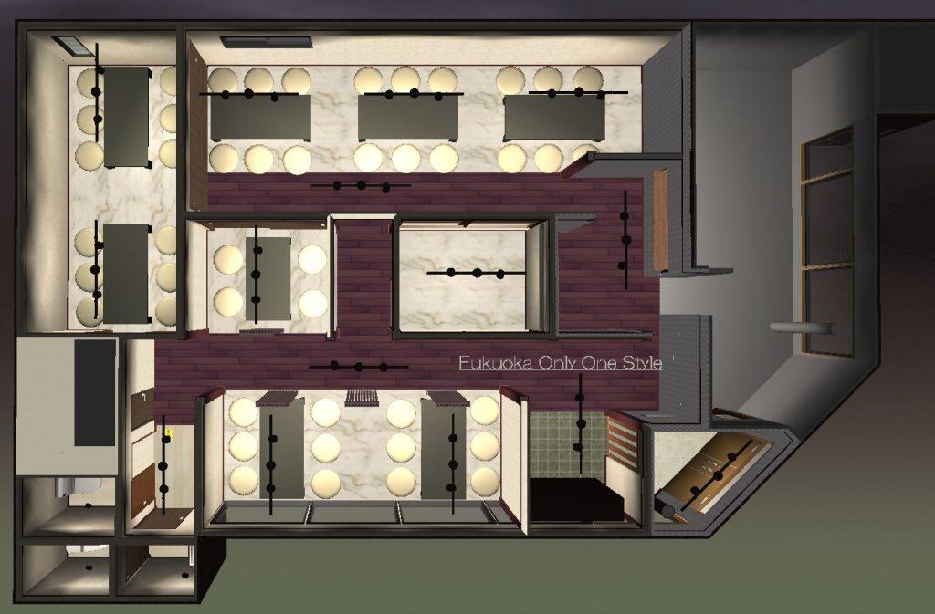 焼肉店舗全面リフォーム3D間取り図©八重洲技建