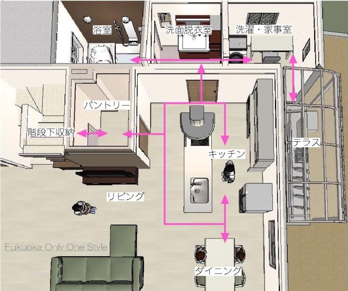 キッチン・水回り間取り図3D(北九州市内工事検討)©八重洲技建