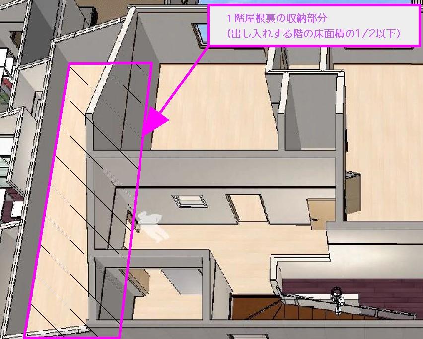 フロアレベル屋根裏収納3D間取り図(北九州市内施工事例)©八重洲技建