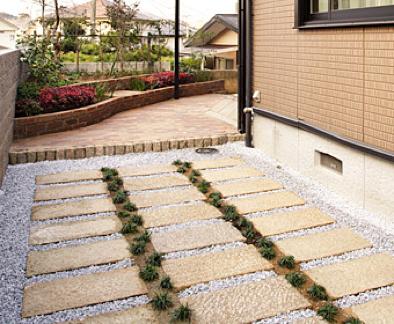 ガーデニング用に一部お庭リフォーム レンガ花壇・レンガ敷き・敷石・化粧砂利