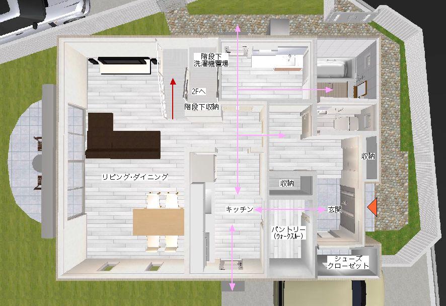玄関からキッチンの収納・家事動線3D間取り図©八重洲技建