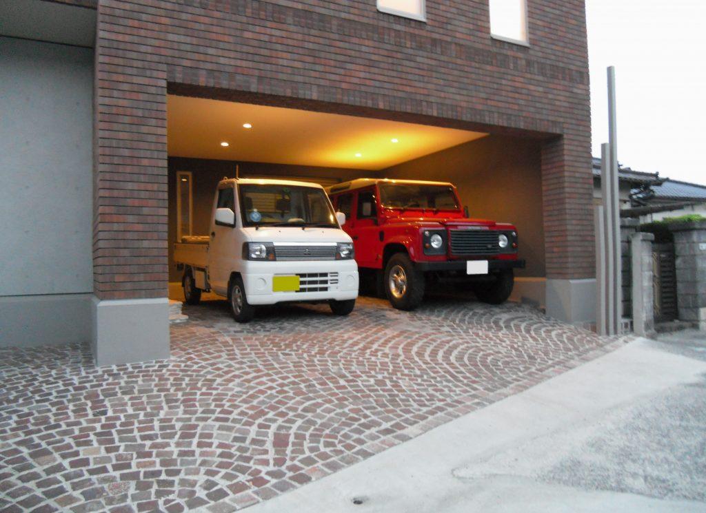 インナーガレージ・外構の敷石工事例 北九州市八幡西区