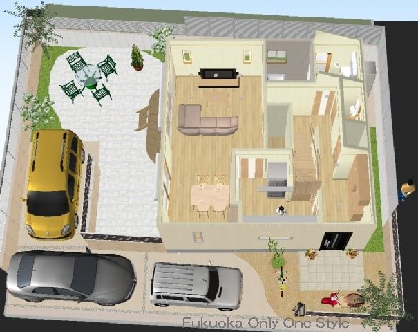 Only One Style garden(福岡県北九州市)住まいの間取り・ガーデン&エクステリアのトータルコーディネート©八重洲技建