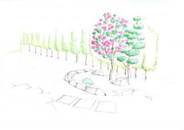 9月16日(木) 庭リフォームのプラン図(手書きパース)北九州市小倉南区