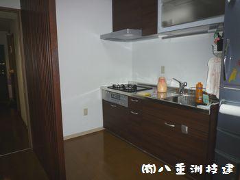 マンションリノベーションキッチン入替施工後(北九州市内施工事例)©八重洲技建